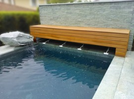 Here you can see a deck mounted system, Bauhaus style with wooden cladding